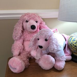 Set of 2 Pink Build-A-Bear poodle plushes